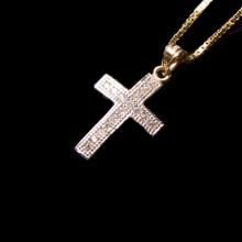 クロス 10K イエロー ゴールド ペンダント ヘッド & ネックレス